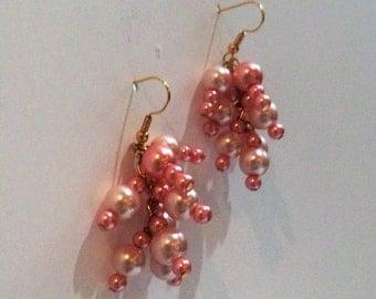Handmade Cluster Earrings, Pink