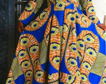 Beautiful long African print gown with long sleeves. Fully lined.