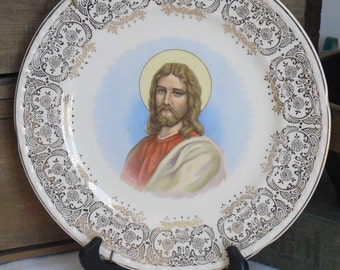 Vintage Jesus Christ Collectible Plate, Decorative Plate, Filigree Gold Edging, Crooksville, Wall Hanging, Christian Art, Christian Decor
