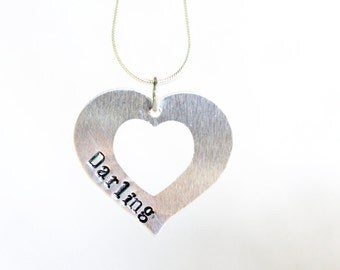 Custom Handstamped Necklace, Heart Necklace, Heart Pendant, Stamped Jewelry, Stamped Necklace, Initial Necklace, Love Necklace, Silver Heart