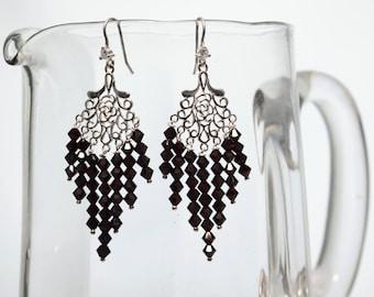 Garnet Crystal Silver Earrings -Long Earrings -Birthstone Jewellery -Chandelier Earrings -Gift for Her -Handmade -Beaded Earrings -UK Shop