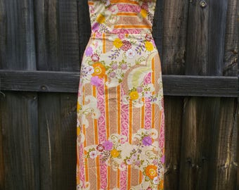 Maxidress 1970s Floral Cotton Halter Dress