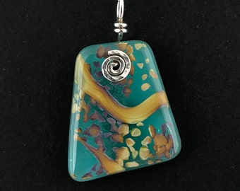 Silver Wire Worked Reactive Fused Turquoise Glass Pendant