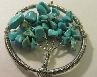 Silver Tone Metal Tree of Life Pendant with Turquoise Stone Chips, 2""