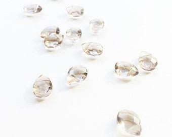 Golden Bronze Glass Faceted Briolette Beads, Glass Beads, Faceted Beads, Faceted Gemstone Beads, Gemstone Beads, Briolette Beads - 14pc