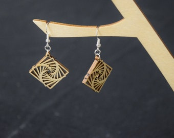 Square Spiral - Laser Cut Wood Earrings