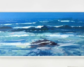 Ocean Painting Large Painting Sea Painting Wave Painting Blue Abstract Art Beach Home Decor Wall Art Christmas Gift Ideas