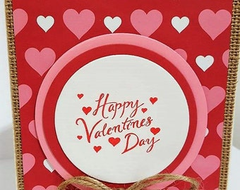 Valentine's Day Burlap Card, Valentines Day Card, Handmade Card