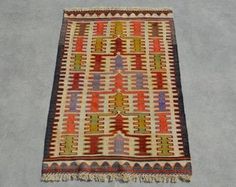 4'3''x2'5'' Vintage Turkish rug, rugs, area rug, rug, bohemian rug, eccentric rug, kelim, kilim, orange kilim, small kilim rug