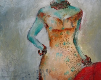 Red Haired Woman with Red Ball Acrylic Painting by Cindy Aune