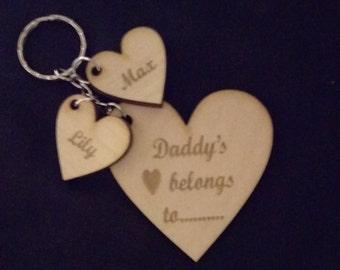 Personalised Wooden Keyring, Mummy, Nana, Grandma,Nana, Daddy, Family, Gifts, Stocking fillers, Christmas
