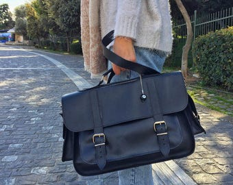 Leather Briefcase Women, Black Leather Messenger Bag, Women's Briefcase, Laptop Briefcase, Messenger Bag, 15'' Laptop Bag, Made in Greece.