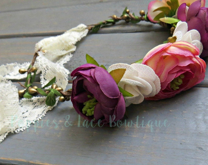 Spring Floral Crown, Floral Headband, Boho Headband, Photo Prop Headband, Boho Wedding, Floral Wedding Headband