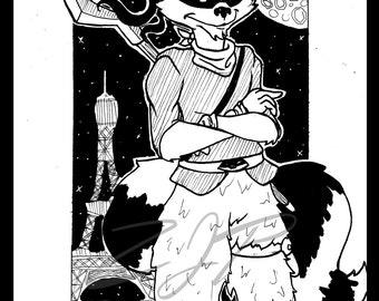 Thievius Raccoonus - Sly Cooper Inktober Painting