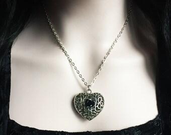 Gothic Heart Necklace, Black Rose, Victorian Pendant, Filigree Metal Pendant, Romantic Jewelry, Valentine Gift, Alternative Jewelry