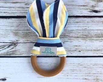 Navy and Yellow Striped Organic Maple Wood Teether | Nautical Teething Toy | Nautical Teether | Baby Gift | Baby Shower Gift | Organic Baby