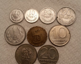 9 poland vintage coins 1966 - 1990  / groszy zlotych coin lot  - world foreign collector money numismatic a6
