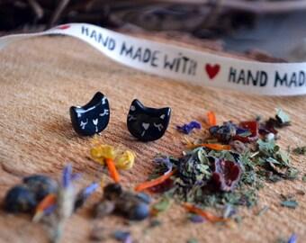 Black cat ceramic earrings