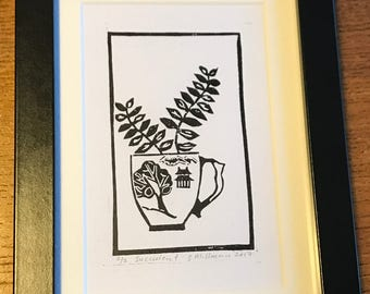 Hand Printed Black Succulent Tea Cup Lino Print Framed