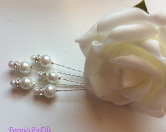 Double pearls with diamantes. Pearl Stems, Diamante Stems,