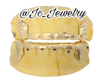 Custom 6 Top & 6 Bottom W/ Bar Across W/ Diamond Cut Fangs K9 Teeth / Custom Grillz / Real Gold Grillz / Top and Bottom Grillz