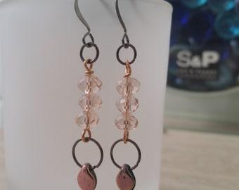 Crystal Dangle Tearose Earrings