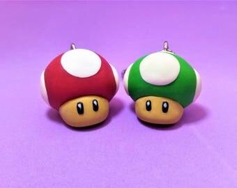 Keyrings lives Mario Bros red mushroom and green 1 up supermario nintendo mushroom