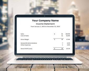 Small Business Income Statement - Income Statement - Profit & Loss