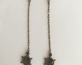 Handmade Ship Wheel Helm Feather Nautical Ocean Bronze Silver Dangle Earrings