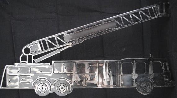 Fire Truck Engine, Big Red Fire Truck, Fire Fighter, Fire House, Metal Fire Truck, Kids Room Decor, Gift for Fire Fighter, Automotive Art
