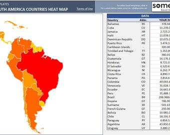 Central & South America Heat Map in Excel - Automatic Country Coloring