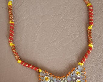 Orange, Yellow, Gold and Silver Beaded Necklace with a Handmade Pendant and Fabric Beads