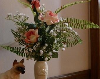 Pink blush roses, silk roses, Valentine's roses, silk floral arrangement