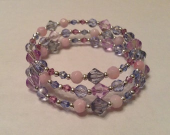 Blue, Pink, Purple & Silver Beaded Memory Wire Bracelet