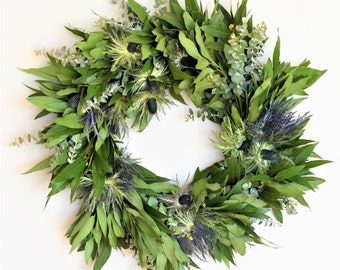 Bay and Thistle Wreath | Summer Wreath | Summer Wreaths for Front Door | Front Door Wreaths | Eucalyptus Wreath | Wreaths for Front Door