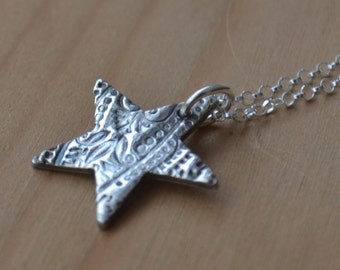 Fine silver & sterling silver Star necklace, star pendant, silver star necklace, mothers day gift, mothers day