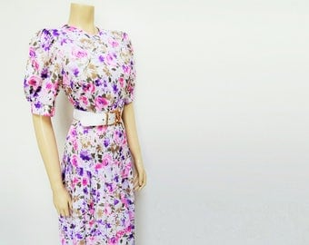 Vintage Dress, 1980's Floral Pleated Dress, Short Fitting, Boho Midi, Puff Sleeves, Retro Dress, Festival Dress, White Dress, UK12, US8
