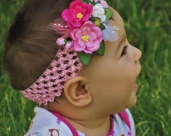 Pink Baby Girl Headbands - Toddler Girl Headbands, Toddler Headbands, Flower Headbands Toddlers, Baby Girl Headbands, Headbands for Girls