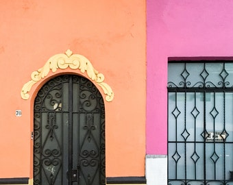 Mexico City, Doors, Quirky Doors, Orange, Pink, Mexico, Colorful, Mexican Art, Print, Fine Art Photography, Travel, Wall Art, Bright, Girly