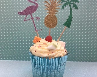 Tropical  Cupcake Toppers Prom Birthday Party Hen Night Anniversary Barbeque Pineapple Flamingo
