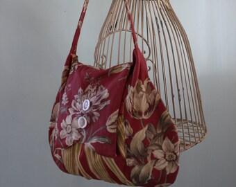 Burgundy and Cream Floral Messenger Bag