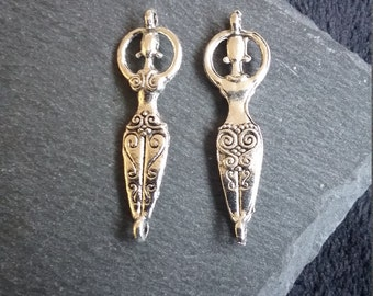 4 or BULK 20 Silver Tone Venus Of Willendorf Fertility Goddess Pregnancy Connector Charms