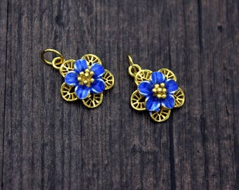 Sterling Silver Flower Charm Pendant, 24K Gold Plated,Blue Cloisonne enamel, Blue flower charms