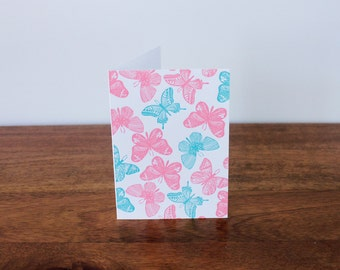 SALE to make way for new stock: Letterpress Blank Butterfly Gift Card in Pastel Green and Pink for Thank You | Anniversary | Baby | Congratu