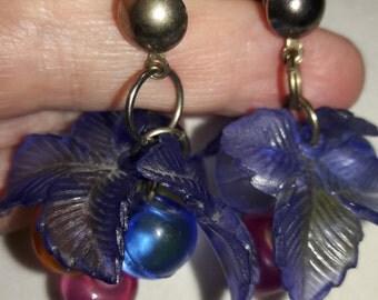 Lucite Celluloid Multi Colored Dangle Vintage Pierced Earrings