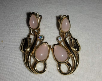 Pink Glass Moonstone Cabochon with Rhinestone Accents Trifari Gold Plated Vintage Pierced Earrings