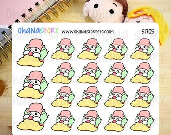 Lie in bed with phone / lazy day Planner Stickers (S1705)