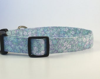 Flower Handmade Dog Collar, Lime Green and Purple Flowers