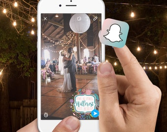 Boho Floral Wreath Snapchat Filter - Mr & Mrs - Glitter - Pink, Turquoise Wedding Ceremony/Reception - Custom Name and date