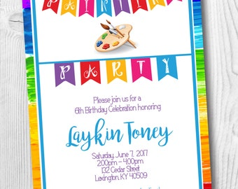 Painting Birthday Party Invitation - Art Party  Paint Brush